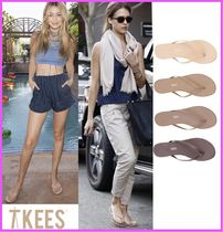TKEES Open Toe Casual Style Street Style Plain Leather Flip Flops