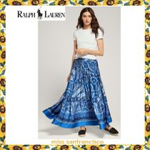 Ralph Lauren Flared Skirts Paisley Casual Style Long Maxi Skirts
