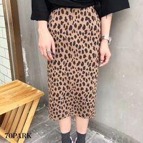 Pencil Skirts Leopard Patterns Casual Style Street Style