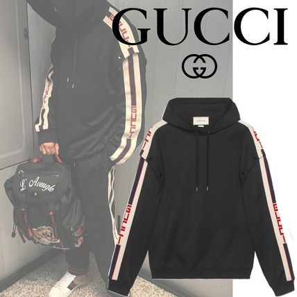GUCCI Hoodies Pullovers Unisex Street Style Long Sleeves Plain Cotton