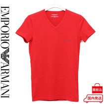 EMPORIO ARMANI Blended Fabrics V-Neck Plain Cotton Short Sleeves