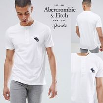 Abercrombie & Fitch Henry Neck Street Style Plain Cotton Short Sleeves
