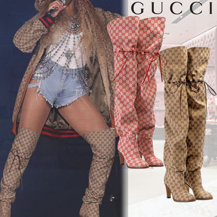 545f41219 ... GUCCI Over-the-Knee Monogram Casual Style Over-the-Knee Boots ...