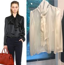 Paule Ka Silk Long Sleeves Plain Medium Shirts & Blouses