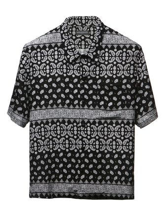 Button-down Paisley Street Style Short Sleeves Shirts