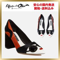Alice+Olivia Leather Elegant Style Chunky Heels Pointed Toe Pumps & Mules