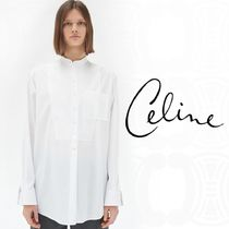 CELINE Long Sleeves Plain Cotton Medium Oversized Elegant Style