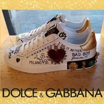 Dolce & Gabbana Heart Unisex Studded Street Style Leather Sneakers