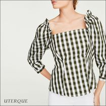 Uterque Gingham Cropped Cotton Medium Elegant Style Shirts & Blouses