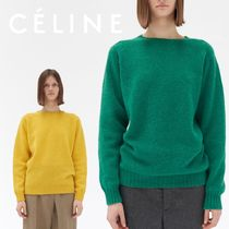 CELINE Crew Neck Casual Style Wool Long Sleeves Plain Medium