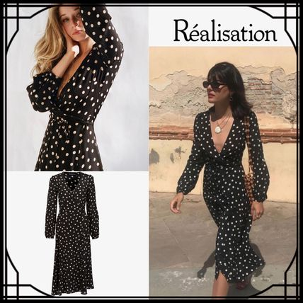 Wrap Dresses Dots Silk V-Neck Long Sleeves Medium Dresses