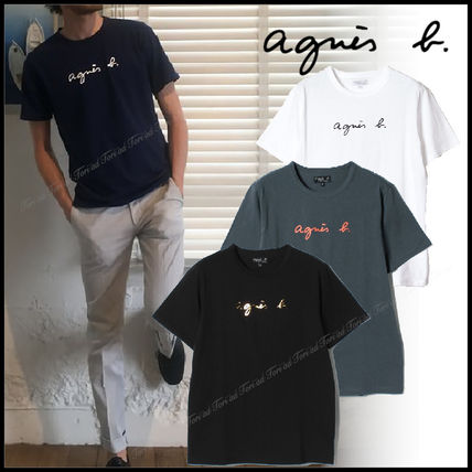 Agnes b Crew Neck Crew Neck Unisex Plain Cotton Short Sleeves