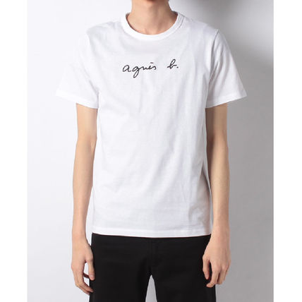 Agnes b Crew Neck Crew Neck Unisex Plain Cotton Short Sleeves 13