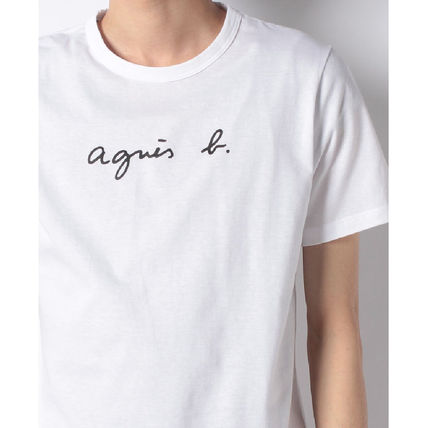 Agnes b Crew Neck Crew Neck Unisex Plain Cotton Short Sleeves 16
