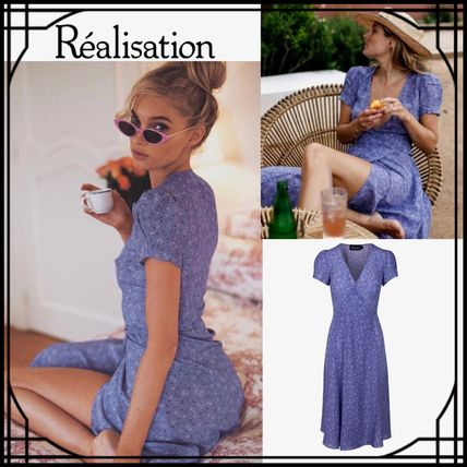 Wrap Dresses Flower Patterns Casual Style Silk V-Neck Medium