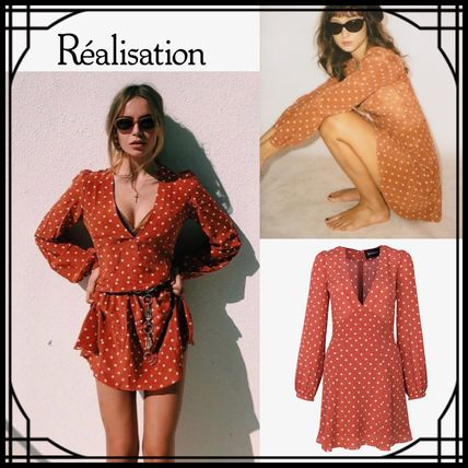 Short Dots Casual Style Silk V-Neck Long Sleeves Dresses