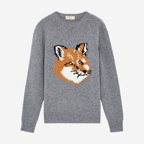 MAISON KITSUNE Pullovers Wool Long Sleeves Other Animal Patterns