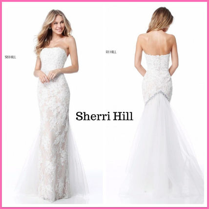 Maxi Plain Long Lace Wedding Dresses