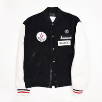 MONCLER Short Street Style Collaboration Leather Varsity Jackets