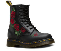 Dr Martens Flower Patterns Casual Style Leather Flat Boots