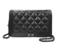 CHANEL BOY CHANEL BOY CHANEL WOC black lamb x black wallet on chain