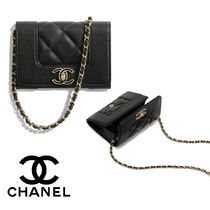 CHANEL CHAIN WALLET 2WAY Chain Plain Leather Shoulder Bags