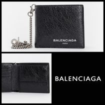 BALENCIAGA Street Style Chain Plain Leather Folding Wallets