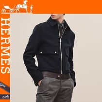 HERMES Short Wool Plain Jackets