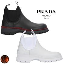 PRADA Round Toe Rubber Sole Casual Style Blended Fabrics Plain