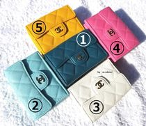 CHANEL TIMELESS CLASSICS Flower Patterns Leather Folding Wallets