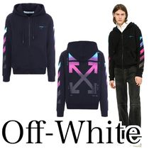 Off-White Pullovers Long Sleeves Plain Cotton Hoodies