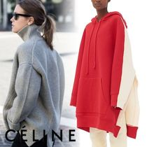 CELINE Casual Style Rib Blended Fabrics Bi-color Long Sleeves Plain