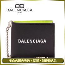 BALENCIAGA EVERYDAY TOTE Unisex Street Style Chain Leather Folding Wallets