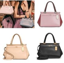 Coach Grace Street Style 2WAY Bi-color Plain Leather Elegant Style