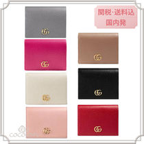 GUCCI Unisex Plain Leather Folding Wallets