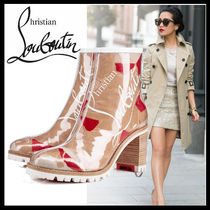Christian Louboutin Plain Toe Blended Fabrics Block Heels PVC Clothing