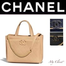 CHANEL ICON Other Check Patterns Calfskin Blended Fabrics Street Style