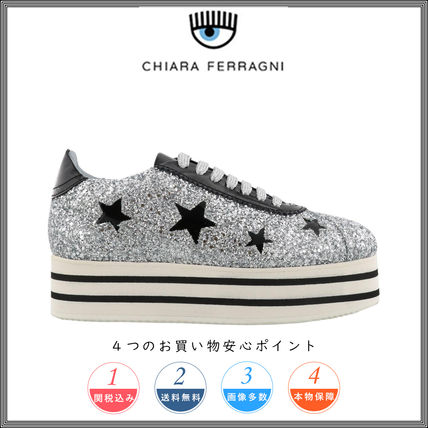 Star Platform Round Toe Lace-up Casual Style