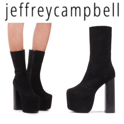 Suede Plain Elegant Style Chunky Heels Boots Boots
