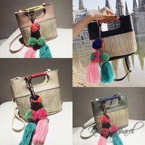 Blended Fabrics Street Style 2WAY Bi-color Plain Straw Bags