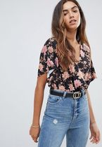 ASOS Flower Patterns Casual Style V-Neck Short Sleeves