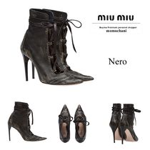 MiuMiu Casual Style Plain Leather Pin Heels Ankle & Booties Boots