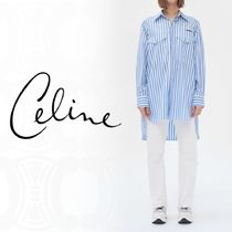 CELINE Stripes Long Sleeves Cotton Medium Oversized Elegant Style