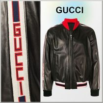 GUCCI Short Bi-color Leather MA-1 Bomber Jackets