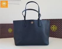 Tory Burch A4 Plain Leather Office Style Dark Brown Totes