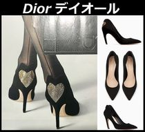 Christian Dior Heart Suede Studded Elegant Style High Heel Pumps & Mules