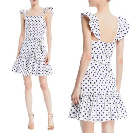 Short Dots Sleeveless Flared Cotton Party Style Dresses