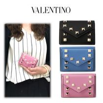 VALENTINO Calfskin Studded Plain Folding Wallets