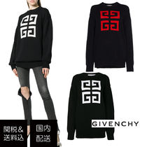 GIVENCHY Crew Neck Casual Style Long Sleeves Cotton Long Sweaters