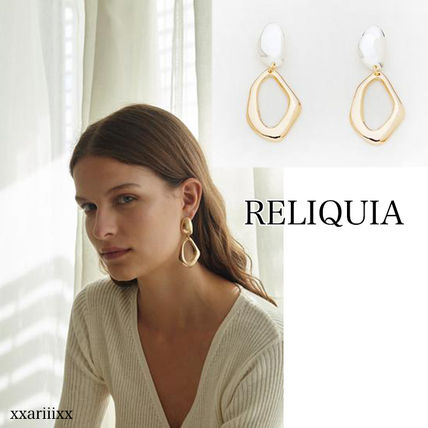 Casual Style 18K Gold Earrings & Piercings